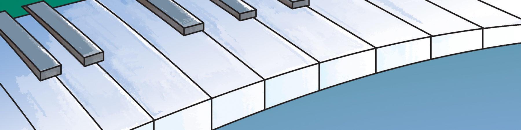 Cartoon piano key background